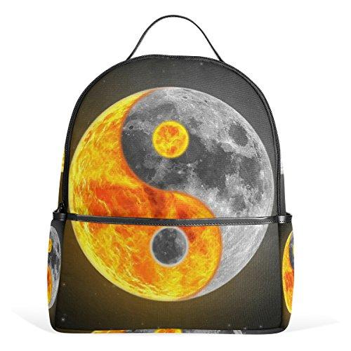 JSTEL Tai Chi Bagua Yin Yang Night Sky Mochilas escolares para niños y niñas Bookbag