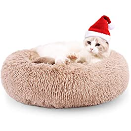 EDUJIN Fluffy Donut Cuddler Pet Bed, Cat and Dog Calming Indoor Cushion Bed with Non-Slip Bottom for Improved Sleep, Machine Washable Long Plush Soft Round Sofa Bed – 20/24 Inch for Puppy and Kitties