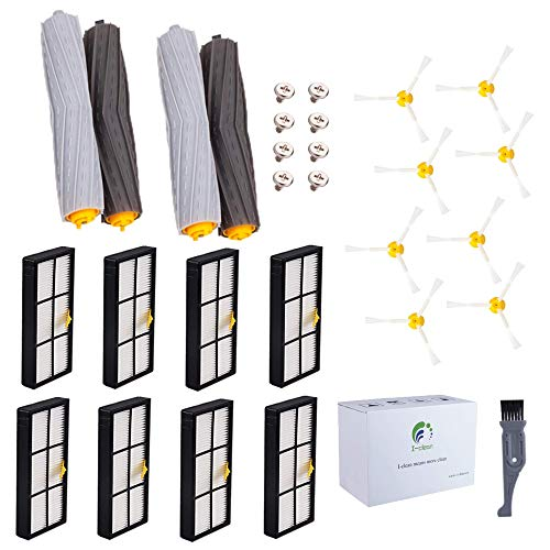 I clean Replacement iRobot Roomba 960 Parts, Roomba Accessories for iRobot Roomba 890 980 880 805 Vacuum,with 8pcs Filter, 8pcs Brush, 2 Sets Extractors