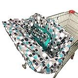 Qhome Funda para carrito de la compra para bebé, plegable, multifuncional, para carrito de la compra, cojín para silla de paseo (75 x 75 x 5 cm, gris)