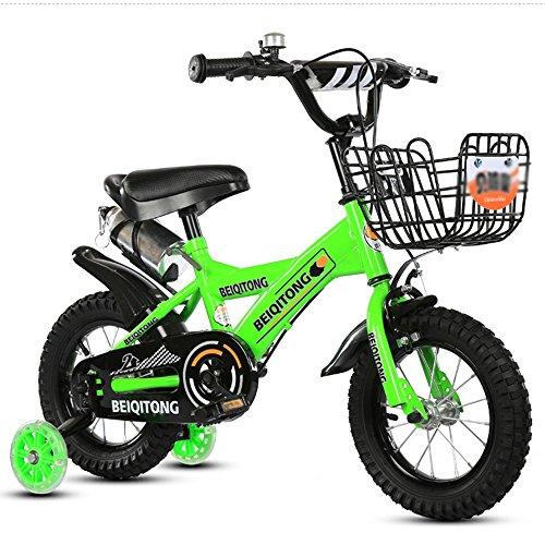 Bicicleta para niños Sheng 3-10 años de Edad, Carro de bebé, niña, niño, 12-14 Pulgadas, Bicicleta, Azul (Color : Verde, Tamaño : 16inch)