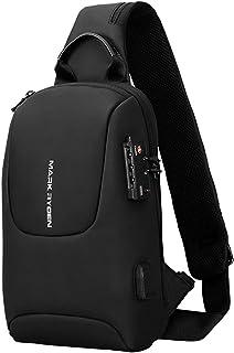 TSA Kilit Crossbody Erkekler Çanta Su Geçirmez USB Şarj Göğüs Paketi Kısa Seyahat Haberciler Göğüs Omuz Çantası Erkekler