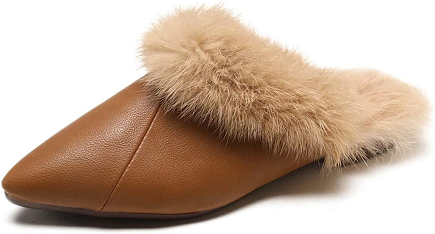 SANOMY Sexy Pointed Toe Mules shoes Women Winter Warm Plush Leather Slippers Fluffy Fur Home Slide Flats