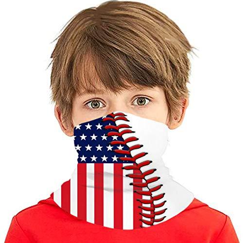 American Flag Baseball Boys Bandanas for Dust Girls Neck Gaiter Kids Face Cover Magical Multi Funtion Uv Protection Headband Seamless Scarf Reusable Half Face Protective Funtion Balaclava