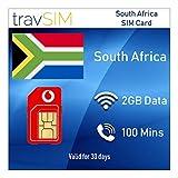 travSIM Prepaid Vodacom SIM-Karte für Südafrika mit 2 GB gültig für 30 Tage (Die SIM-Karte enthält 100 Minuten für Internationale Anrufe in mehr als 30 Länder, und 3G / 4G Internet-Geschwindigkeit)