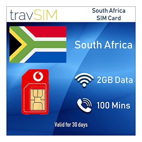 TravSIM Prepaid Vodacom SIM-kaart voor Zuid-Afrika met 2 GB geldig voor 30 dagen (de simkaart bevat 100 minuten voor internationale gesprekken in meer dan 30 landen, en 3G / 4G internetsnelheid)