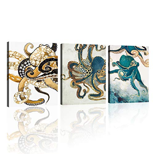 Vintage Ocean Gold Octopus Canvas Wall Art Abstract Wall Art Painting for Living Room Bedroom Decoration, 3 Panels Home Bathroom