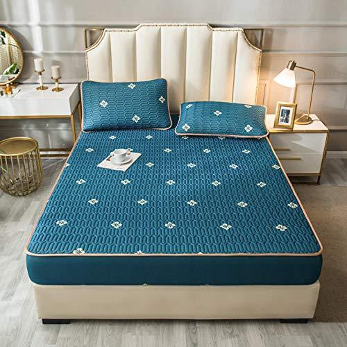 YFGY Premium Textiles Topper Spannbettlaken Single 120 * 200cm, Spannbetttuch und Kissenbezug Gedruckt Cool Summer, Matratzenschoner für Schlafzimmer Apartment Green 1 2PCS