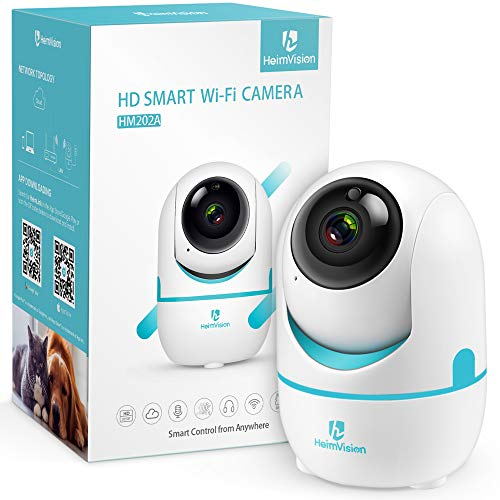 HeimVision HD 1536P Caméra de Surveillance WiFi Intérieure, HM202A 2K 3MP Rotation 360° Panoramique/Inclinaison/Zoom 4X, Détection de Mouvement, 6 LED Infrarouges, Cloud+SD Stockage pour Bébé/Animal