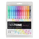 Tombow TwinTone Dual Tip Markers: Water-based Ink, Bullet and Extra Fine Tips, Set of 12 Pastel Colors (61501)