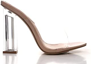 Cape Robbin Fusion Clear Chunky Block High Heels for Women, Transparent Booties for Women