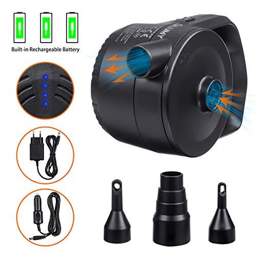 2 in 1 Akku-Elektrische Luftpumpe,Strom speicherung Elektropumpe, 2 Lademethoden - 220V Ladegerät & 12V USB Auto-Ladekabel, 330L/MIN 3 Ventil-Aufsätzen für Luftmatratzen Schlauchboote (Wireless)