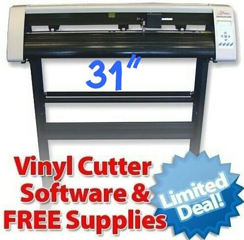"31"" R series Vinyl Cutter Machine with + Software Vinyl Sign Plotter+ Great Starter Bundle Supplies + Tools Kit"