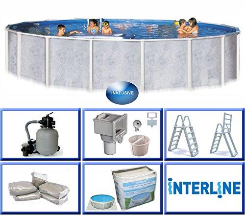 Interline 55000052 Diana Auf- und Erdeinbau Stahlwandpool 5,50m x 1,32m mit Sandfilter Set 6,0m³/h
