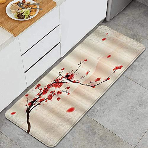 SUHETI KüchenteppichAsiatische japanische rote Kirschblüten Sakura zwei Vögel, die auf Zweig stehendicke rutschfeste wasserdichte Küchenteppiche und -matten, Hochleistungsmatte für die Küche(45*120cm)