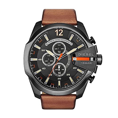 Diesel Herren Analog Quarz Uhr mit Leather Armband DZ4343