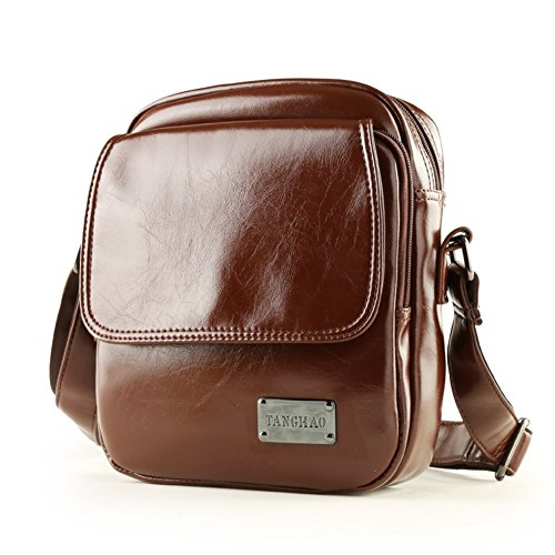 Sincere® sac à bandoulière en cuir / homme sac à dos sac étudiant / loisirs de plein air sac Messenger / affaire d'hommes à travers le brun paquet-petit