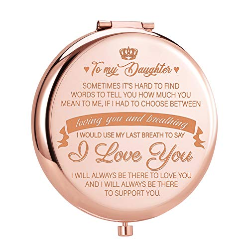 ElegantPark Birthday Gifts for Daughter from Mom Dad Engraved Compact Mirror for Purse Personalized Christmas Graduation Gifts for Daughter Small Pocket Travel Makeup Mirror Rose Gold