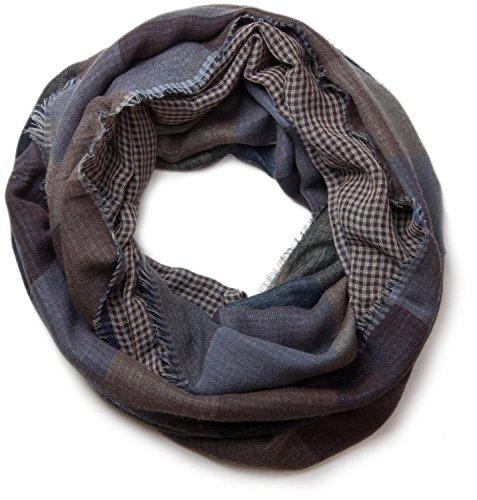 styleBREAKER Écharpe tube snood chaude avec motif à carreaux et franges, unisexe 01018037, couleur:Gris-bleu