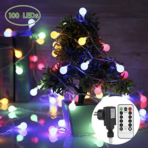 Lichterkette Strombetrieben 100 LEDs GREEMPIRE Bunt Lichterketten Glühbirnen mit EU Stecker 13.3M Lichterkette Kugel mit Fernbedienung Indoor Licherkette Außen Wasserdicht für Hochzeit Balkon Zimmer