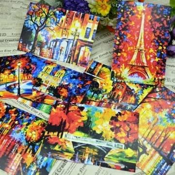 8 cartes postales Colorful peinture huile Greeting Cards Carte postale Paris Night Illustration Peinte à la Main