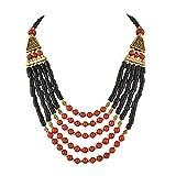 Zephyrr - Collana tibetana con perline, multifilo, realizzata a mano, alla moda, da donna e materiale non metallico, colore: Nero , cod. JAN-659
