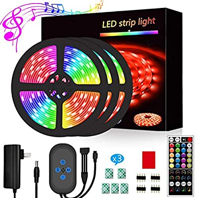 Segrass Led Strip Lights 49.2ft?Led Lights Music Sync?Color Changing with 16 Colors 6 Modes,LED Light Strips Kit with 40 Keys IR Remote Controller and 12V Power Supply