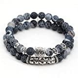 2PCS Owl 8mm Round Beads Stretch Bracelet Natural Stone Bead Yoga Balancing Reiki Healing Jewelry Women Men Gemstone Chakra Bracelet Jewelry (4)