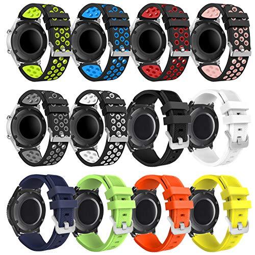 kytuwy Armband mit Galaxy Watch 3 45mm - Gear s3 Armband, Smartwatch Ersatzarmbänder 22mm, Silikon Sportarmband für Galaxy Watch 46mm /Gear S3 Classic/Gear S3 Frontier Smartwatch(12 Pack-A)