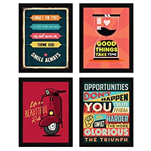 ArtX Paper Motivational Quotes Wall Frame Art Painting, Multicolor, Inspirational, 10.5X13.5 in, Set of 4