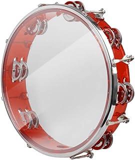 BOM Tamborine Hand Bell Drum Double Row Jingles Music کوبه ای قرمز آبی (قرمز)