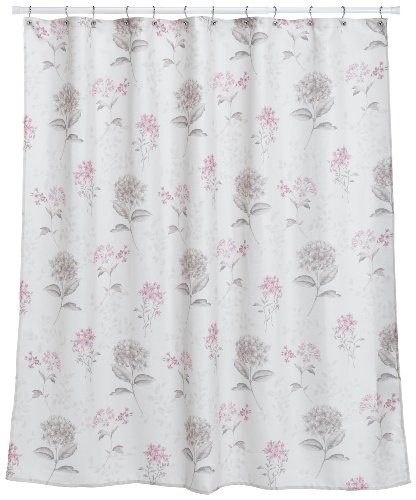 White shower curtain with pink flowers
