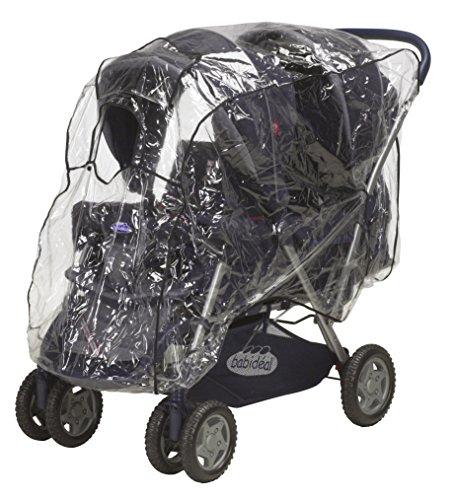 Playshoes Universal Regenverdeck für Geschwister-Wagen, Tandemwagen Regenhaube, mit Klettverschluss und Gummizug, transparent, one size