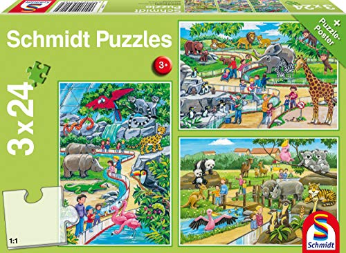 Schmidt Spiele Puzzle 56218, grün, EIN Tag im Zoo, 3x24 Teile
