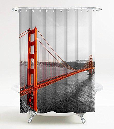Duschvorhang San Francisco 180 x 180 cm, hochwertige Qualität, 100prozent Polyester, wasserdicht, Anti-Schimmel-Effekt, inkl. 12 Duschvorhangringe