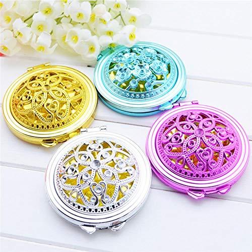LDCP Mini Espejos compactos portátiles Chica Doble Lado Plegado Ahuecado Espejo de Maquillaje Vintage Espejos de Mano Espejo de Bolsillo Color Aleatorio 4PCS / Set