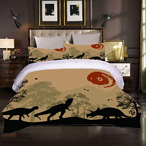 OJYUXD Bedding Set Single Size 135X200Cm 3 Pieces Brushed Microfiber Forest Animal Dinosaur Duvet Cover With 2 Pillowcases Soft Quilt Covers Double Fade Resistant