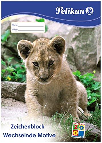 Pelikan Zeichenblock C 4 20, DIN A4, 100 g qm, 20 Blatt, Deckblatt mit Tiermotiven (nicht auswählbar)