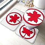 The-Flag-of-Canada - Alfombrilla antideslizante para baño, alfombrilla para el suelo y alfombrilla en forma de U, lavable para baño, hogar, ducha, juego de 3 alfombrillas