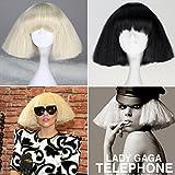 HALLE SHOP---レディー・ガガ Lady Gaga風  コスプレウィッグ 耐熱 ウィッグ コスチューム ハロウィン、クリスマス、イベント、お祭り仮装変装など (ベージュ)