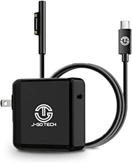 J-Go Tech Surface 45W USB C Charger | 15V PD Charging Cable | Compatible with Microsoft Surface Pro 6 Pro 5 Pro 4 Pro 3, Surface Book, and Surface Laptop (45W Charger & Cable Combo)