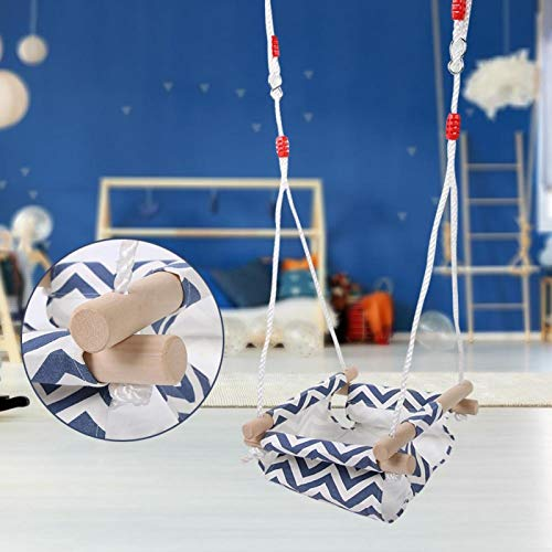 SALUTUYA Baby Canvas Hammock Swing Chair 60KG Kids Wood Hanging Swing Kid Hammock,for Toddler,for 6 to 48 Months Baby