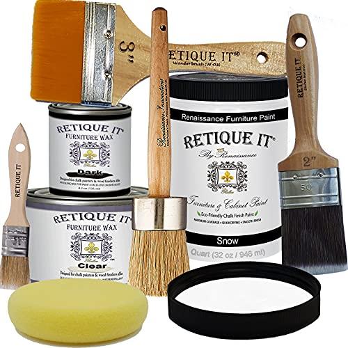 Retique It Chalk Furniture Paint by Renaissance Deluxe Starter Kit, Wax, 01 Snow