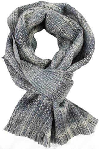 Rotfuchs Echarpe Webschal Uni à motifs gris blanc 100% laine (Mérinos)