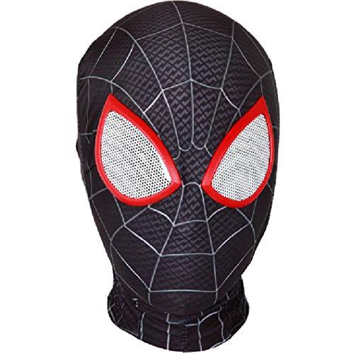 QWEASZER Peter Parker Spider-Man Maske schwarz Miles Morales Kopfbedeckung Lycra Vollmaske Halloween Film Cosplay Kostüm Requisiten Zubehör,Spiderman A-OneSize