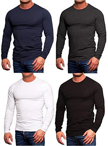 JACK & JONES Herren 4er Pack Basic Langarm Shirt Longsleeve Sweatshirt O-Neck Rundhals Weiß Schwarz Blau Grau (4er Pack Mix 4, L)
