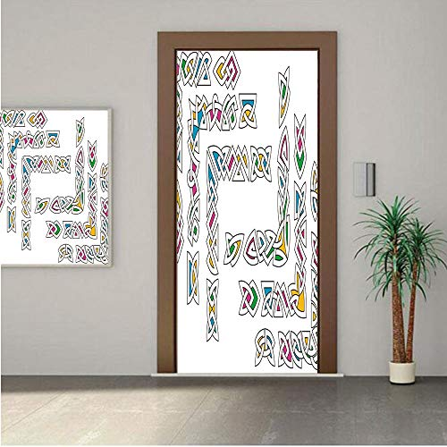 Ylljy00 Irish Door Wall Mural Wallpaper Stickers,Celtic Ornament Patterns Set Colorful Entangled Gaelic Ethnic Ancient Borders Decorative 24x80 Vinyl Removable Decals for Home Decoration
