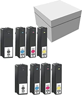 Lexmark 100XL 14N1068 14N1069 14N1070 14N1071 2 Sets High Yield Black Cyan Magenta Yellow Compatible Inkjet/Ink Cartridge -8PK