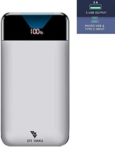 DR VAKU Swadesi Power Bank Fast Charge Power Bank 20000 Mah With Digital Display And Micro Type C Outputs Make In India White