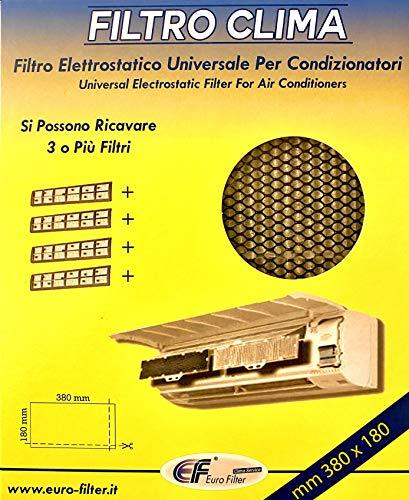 EuroFilter Filtro Elettrostatico Universale 380x180 millimetri per Condizionatori – Ritagliabile